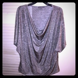 NY Collection womens silver cowl neck tunic blouse